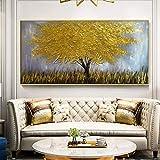 ganlanshu Quadro Senza Cornice Albero di Arte dorata Tela acrilica spatola Trama Immagine Arte Della parete per soggiorno 50X100 cm