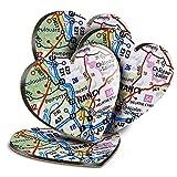 Destination Vinyl ltd Great Posavasos (juego de 4) corazón – Nancy City Francia mapa de viaje francés bebida brillante posavasos/protección de mesa para cualquier tipo de mesa #45822