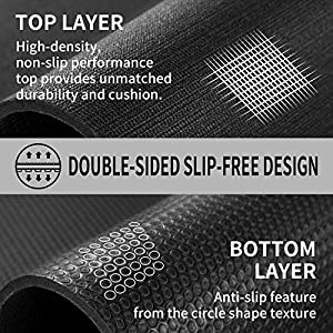 Cambivo Large Exercise Mat, 6' x 4' x 7mm Workout Mats for Home Gym Flooring, High Density, Shoes Friendly, Durable Wide Cardio Mat, Ideal for Plyo, MMA, Jump Rope, Stretch, Fitness