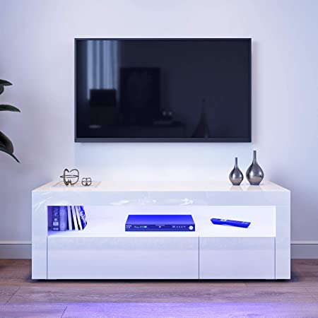 Elegant 1200mm Led Light Tv Cabinet Modern White High Gloss Tv Stand With Ambient Lights For Bedroom Living Room With Storages Furniture For 32 40 43 50 Inch 4k Tv Amazon Co Uk Kitchen