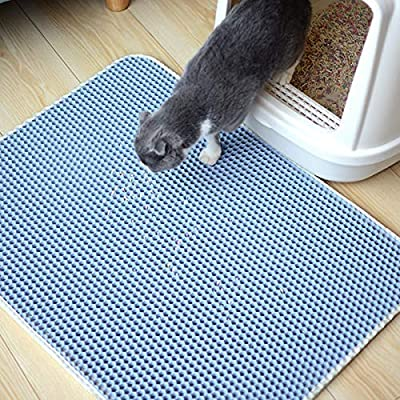 Huntfgold Cat Litter Box Mats for Catching & Trapping Kitty Litter (55 * 75cm, Blue)