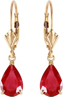 3.5 CTW 14k Solid Gold Leverback Earrings with Natural Pear-shaped Ruby
