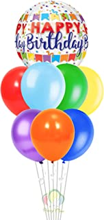 PARTY TIME - Happy Birthday Orb Foil Balloon Hangable and Colorful Latex Balloons Perfect for Fiesta Theme Sets, Birthday ...