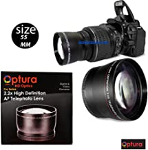 OPTURA HD Photo 55MM 2.2X Telephoto Lens for Nikon D3400, D5600 and Sony Alpha Series A99II, A99, A77II, A77, A68, A58, A57, A65, A55, A 390, A100, A33, A900, A850, A700, A500, A330, A300