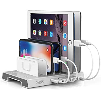 Unitek 4 Ports USB Charging Station, Fast Charger and Smart IC Charger Port Compatible with iPad, iPhone, Tablet, Multiple Devices, Nightstand Electronic Organizer and Docking Station Stand Rack
