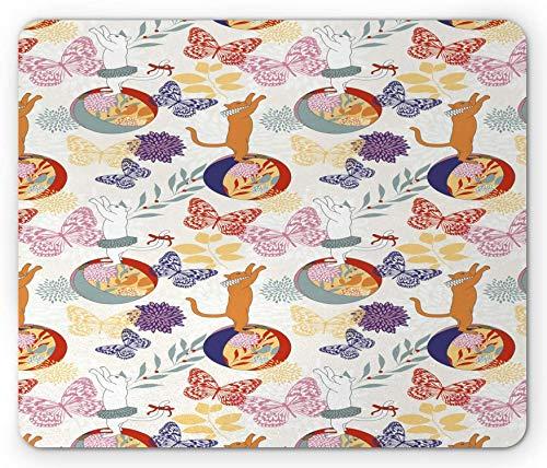 Tappetino per mouse animali, modello di gatti ornati che giocano lungo le palle che volano farfalle colorate, tappetino per mouse rettangolare in gomma antiscivolo, arancione persiano multicolor -