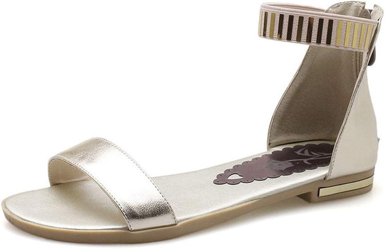 Women Sandals Peep Toe Square Low Heel Buckle gold Platform Pu Leather Women Sandals 34-43