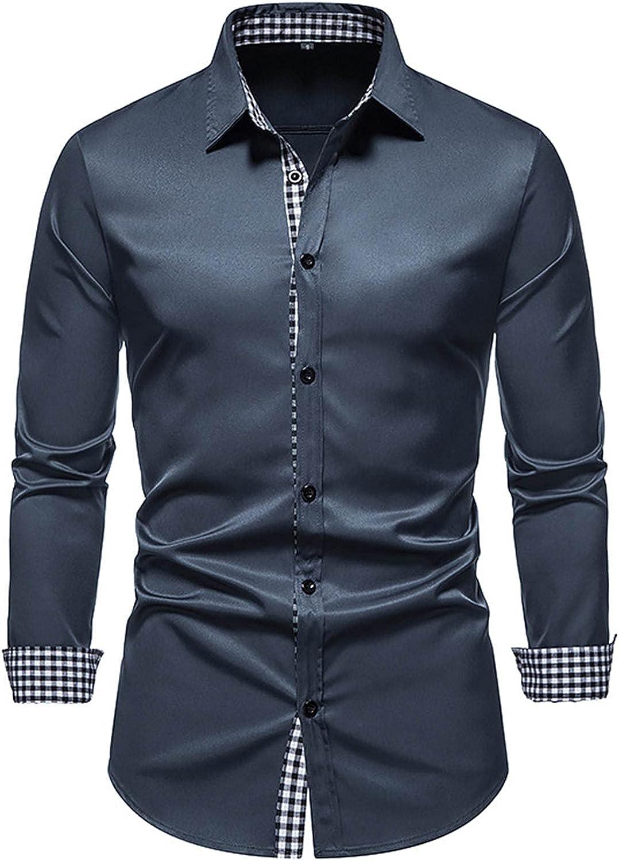 Men's Business Dress Shirts Long Sleeve Slim Fit Casual Button Up Dress Shirt Luxury Design Shirts Soild Dress Tops