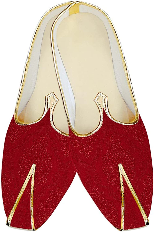 INMONARCH Mens Crimson Jute Silk Wedding shoes Designer MJ17089