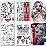 4 Large Sheets Halloween Temporary Tattoos Stickers Suicide Squad Harley Quinn The Tattoos Halloween Party Supplies Cosplay Fake Tattoo for Women Men Kids Halloween Costume Accessories