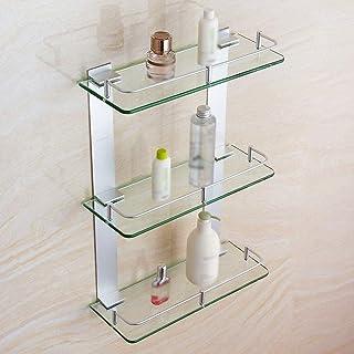 浴室 収納 バスコーナーラック 厚く焼戻しガラスシャワーラック壁掛けコーナーフレーム付き浴室棚化粧品棚 JWLKET-10-26-H (Size : 250mm)