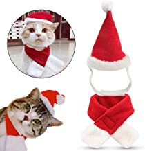 ExquiFirm Pet Christmas Costume Santa Hat and Scarf Costume Cat and Dog All Suitable Velcro Pet Costume Cute and Easy to Wear Cosplay The Santa in Party Such as Christmas and Halloween