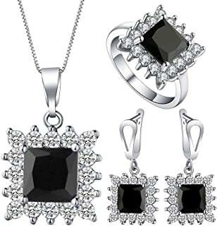 VPbao Necklace Earrings Ring Jewellery Set Square Cubic Zirconia Sets Black