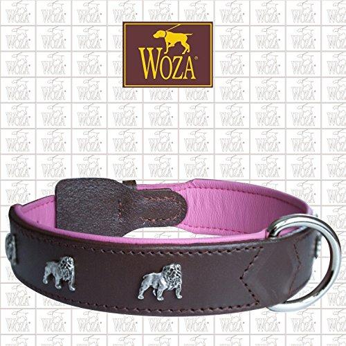 Woza Exclusive HUNDEHALSBAND ENGLISCHE Bulldogge 3,8/65CM Vollleder Burgund RINDNAPPA PINK Handmade Collar