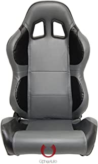 Cipher Auto Racing Seats -Gray and Black Carbon Fiber PU Leatherette - Pair