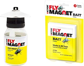 Victor M380 Fly Magnet 1-Quart Reusable Trap with Bait, 1 Trap and 3 Extra Fly Magnet Bait Packs