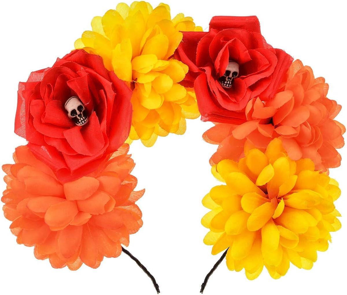 Accesyes Custom Mexican Flower Crown Day of the Dead Headpiece Hawaiian BOHO Frida Floral