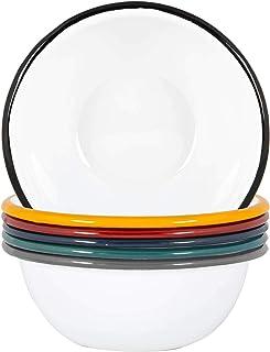 Argon Tableware Blanc Bols émail - Acier Camping en Plein air Arts de la Table - Vaisselle 16cm - 6 Couleurs