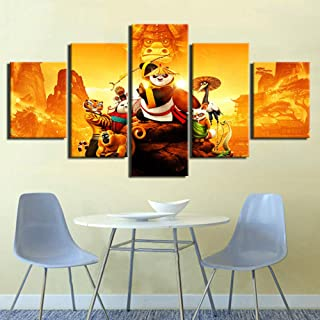 IGHFVJFG Movie Kung Fu Panda-5 Panels Canvas Prints Wall Art Paintings for Wall Decor Dining Room Kitchen Large Modern Artwork Pictures On Canvas-Size3Framed