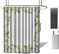 TimBeve Waterproof Fabric Shower Curtain Shabby Chic,Flowers Roses Leaves Buds Romantic Love Valentines Frame Artwork,Blue Green and Cream,Machine Washable - Shower Hooks are Included 70