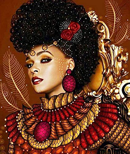 African Woman Diamond Painting Kits, African Queen Paint with Diamond by Number Kits 5D Full Drill Round Rhinestone Embroidery Cross Stitch Home Wall Décor 12X16 inch
