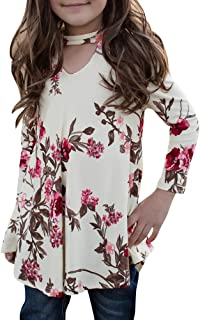 Girls T Shirts Cute Floral Tops Swing Tunic Blouses Kids Fall Clothes