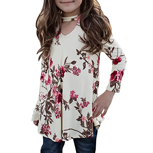 02628ae3605 Girls T Shirts Cute Floral Tops Swing Tunic Blouses Kids Fall Clothes