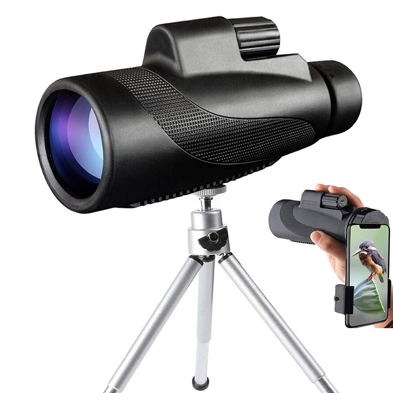 Monocular Telescope, 40X60 High Powered HD BAK4 Prism Waterproof Fog Monocular with Smartphone Adapter & Metal Tripod for Adults Bird Watching, Travel, Camping, Hunting, Concerts