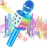 Microfono Inalámbrico Karaoke, JoyKing Micrófono Karaoke Bluetooth Infantil Portátil con Altavoz y LED para Niños Canta Partido Musica Compatible con Android/iOS, AUX o Teléfono Inteligente (Azul)