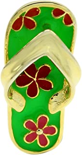 AFFY Jewelry Multi Color Enamel Hawaiian Slipper Pendant in 14k Gold Over Sterling Silver