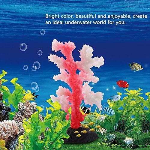 HEEPDD Corallo Acquario, Simulazione Anemone Piante bioniche Luminose in Silicone Forniture per l'abbellimento del Serbatoio di Pesci Ornamento dell'acquario(Rosso)