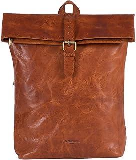 HOLZRICHTER Berlin Rolltop Rucksack No 4-2 aus Leder - Premium Daypack im Vintage-Look für Damen & Herren - Cognac-Braun
