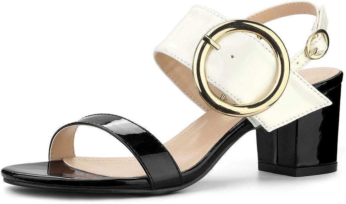 Allegra K Women's Slingback High Sandals Heel Block Deluxe Product