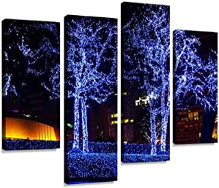 4 Panel Street with Christmas decorations Canvas Print Pictures Modern Home Decor Posters Gifts Abstract Photo Canvas Wall...