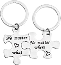 bobauna No Matter Where What When Puzzle Keychain Set of 2,3 Long Distance Gift for BFF Couple Sister