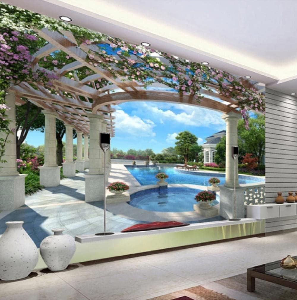 European Style Regular Spring new work discount Garden Blue Sky Swimming Mural Wallpaper Liv Pool