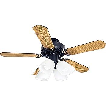 シーリングファンライト・5枚羽根 赤外線リモコン付 リバーシブル(木目/黒)E26ソケットx4灯(白ガラスシェード付)