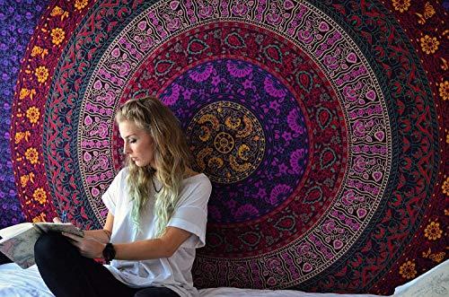 RAJRANG BRINGING RAJASTHAN TO YOU Psychedelic Tapestry Azul Mandala - Wall Hanging Tapiz Bohemio Indio Hippie Tapices Hindu Casa Decorativo - Azul y Purpura - 213 x 137...