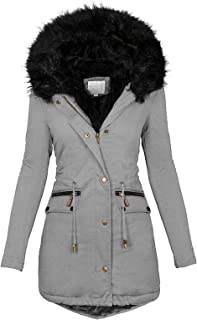 Women Winter Parka Coats, Plus Size Thick Fleece Lined Plush Hooded Windproof Warm Down Outerwear Jackets with Pockets
