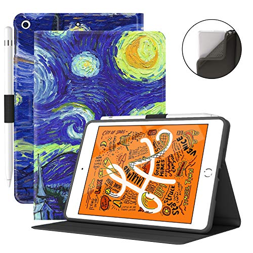 VECO iPad Mini 5 Case with Pencil Holder - Premium Shockproof Case with Auto Sleep/Wake Feature for iPad Mini 5th Generation (Starry Night)
