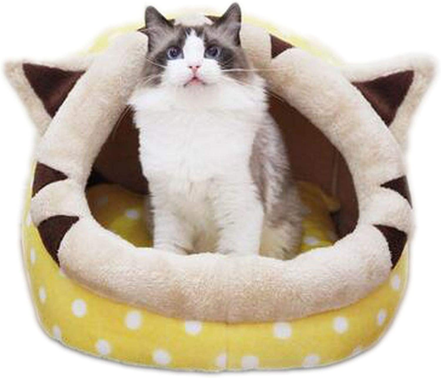 Pet Cat Bed House Warm Puppy Mini Pet Dog Beds Teddy Bed Dog Mat Cat Kennel,Yellow,L 52  48  39cm
