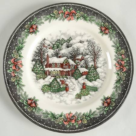 Royal Stafford Christmas Village Dinner Plates - Set of 4