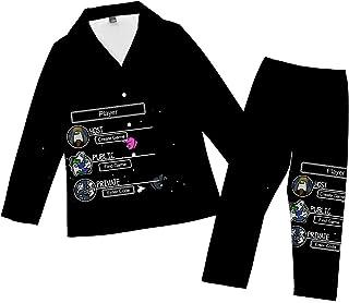 Atecou Mens Pajamas Set Among Us Pattern Long Sleeve Top & Bottoms Classic Sleepwear Nightwear Mens Soft & Cosy Fleece Pyj...