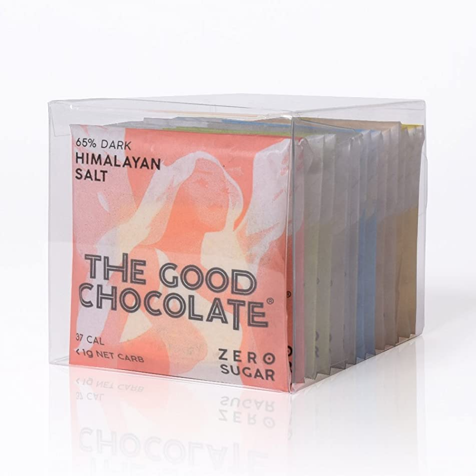 The Good Chocolate 12-ct Gift Variety Square/Zero sugar/Very Low Net Carb / (Dark, Almond, Mint, Ginger, Salt, Milk)