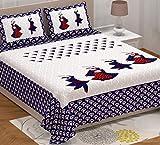 AC FASHION Rajasthani Jaipuri Traditional Sanganeri Dandiya Printed 104 TC 100% Cotton Double Size Bedsheet with 2 Pillow Covers, Multicolor
