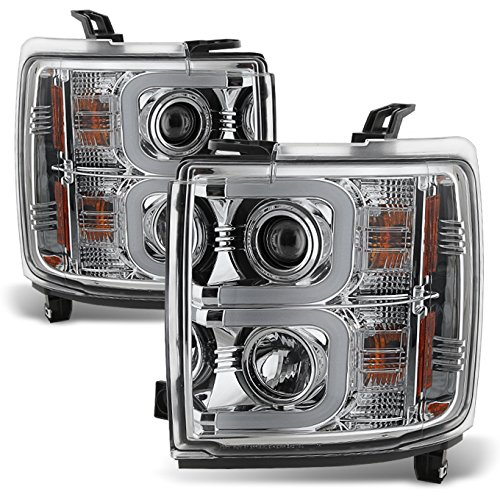 For 15-18 Chevy Silverado Heavy Duty Chrome Clear Dual LED DRL Projector Replacement Headlights Lamp