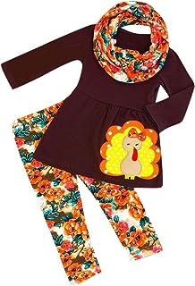 Baby Girls Dress Set, Toddler Kids Thanksgiving Printed T-shirt Floral Pants Outfits Set