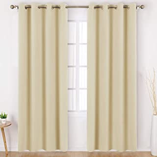 HOMEIDEAS Blackout Curtains Wide 52 X 84 inches Long Set of 2 Panels Beige Room Darkening Curtains/Drapes, Thermal Insulated Grommet Window Curtains for Bedroom & Living Room