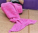 Sun Cling Handmade Soft Crochet Mermaid Blankets Blue Knitted Pattern Seasons Sleeping Blankets Adult for Women,Girls,Teens