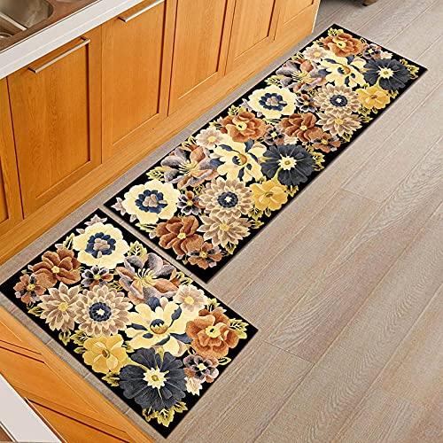 OPLJ Alfombrillas con Estampado Floral Alfombra de Cocina Comedor Alfombra de Bienvenida alfombras de Puerta Dormitorio Sala de Estar decoración Alfombra Antideslizante A3 50x80cm